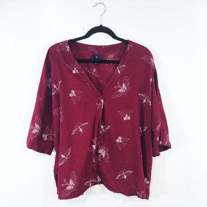 [Gap] Burgundy Butterfly V-neck Kimono Top